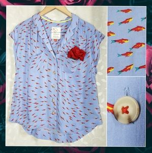 Anthro Coversations Fish Print Blue Button Blouse